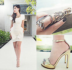 Liana Wibowo - Nasty Gal Http://Www.Nastygal.Com/Clothes%2ddresses/Victoria%2dpeplum%2ddress%2dcream, Erickson Beamon Gold Digger Ring, Zara Golden Heels - Ever After in White and Gold....