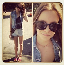 ✞ascha M... - Lee Denim Vest, Ksubi Shorts, Byron Bay Sandals, Lespecs Sunglasses, Hope And May Skull Necklace, Hermës Purse - Schools out!!
