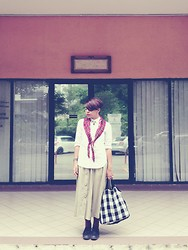 - sam e - - Vintage Scaft, Uniqlo White Shirt, Vintage Skirt, Leather Shoes - Be bold or italic, never regular