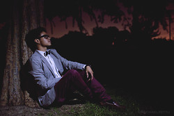 Garin Rusdi - Cotton On Dark Red Jeans, Forever 21 Grey Blazer, Black & White Bow Tie, Forever 21 Glasses, Brown Leathered Shoes - Midnight Summer Dream