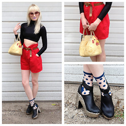 Anna Claudia - Thrifted Crop Top, Thrifted Shorts, Anthropologie Socks, Jeffrey Campbell Studded Platforms, Thrifted Rubber Chicken Bag - Chicken Purse