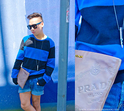 Stephen Pham - H&M Striped Sweater, H&M Denim Shorts, Amaly Bullet Necklace, Lanvin Sunglasses, Prada Leather Envelope Bag - Dans l'azur
