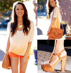 Jessica R. - Oh My Frock Ombre Orange Shirt, Pop Couture Brown Studded Bag, Bakers Orange Chunky Sandals, Chic Wish Orange Denim Shorts, Swell Gold Necklace - Orange... You Glad to See Me?