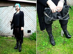 Emma Jopasnyt - Thrifted Cardigan, Leggings, My Bag, Jeffrey Campbell Heels - Gothin'