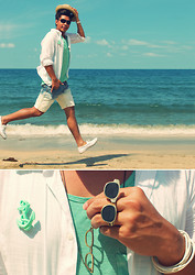 ALLEN M - Cotton  On Straw Fedora Hat, H&M Button Up Shirt, H&M Mint Vest, Diy Acid Washed Denim Shorts, Topman Canvass Boat Shoes, Topman Anchor And Sunnies Ring - ACID DIPPED | ALLENation