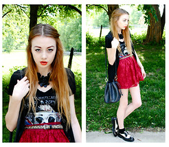 Megan Brigance - Crash And Burn Apparel Tee, Forever 21 Leatherette Necklace, Thrifted Everything Else - Red, White and Black