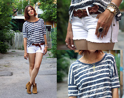 Anik L.R. - Gap Tee, Forever 21 Shorts, Gap Belt, Isabel Marant Booties - Be Your Own T: Stripes