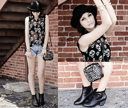 Margarita M - Armani Exchange Shirt, Forever 21 Boots, Kenneth Cole Bag, Oasap Bracelet - Skull Fiction