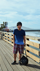 Jeff Me - Gap Ombre T Shirt, Gap Flat Front Big Plaid Shorts, Diesel Joyful Sneakers, Messenger Bag, Victoria's Secret Sky, Bebe Clouds, Love Photoshop'd - A day in San Francisco