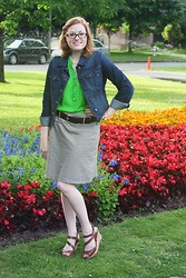 Chelsea P - Old Navy Jean Jacket, Romy Skirt, Guess? Peep Toe Wedges, Old Navy Green Blouse - Watermelon Brights