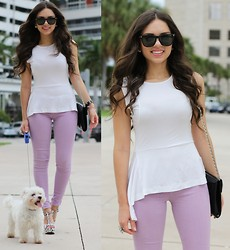 Daniela Ramirez - Lamb Lavender Jeans, Pink And Pepper Shoes, Jill Milan Bag, Furor Moda Sunglasses, Romwe Top - Lavender