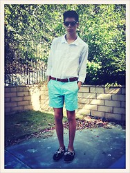Blake Keif - H&M Long Sleeve Button Down, Lacoste Belt, H&M Turquoise Shorts, Boat Shoe, Sun Glasses - Sunlight