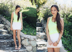 Bethany Struble - Victoria's Secret Neon Racer Back Tank, Lace Skirt, Dolce Vita White Sandals - Bright Like The Sun