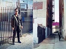 "Nico Marino - Military Issue ""Avirex"" U.S. Navy Brown Leather Flight Jacket Type G 2, Today's Man Black Suit Vest, Bass Blue Brockton Oxford - Between Fences and Buildings"
