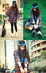 ▲▼ Asyluminica ▲▼ - Forever 21 Red Socks, Online Fox Tail, Andie's Bandana, Artwork Bag, Willow Oversized Plaid Button Down Top, Sm Tights, All From Rebel Gear Bracelets, Thrifted Platform Sneakers - Grunge Punch