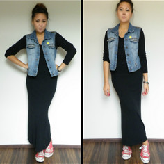 Angelina Sunshine - Hennes Diy Denim Vest, Zara Pullover/Sweater/Jumper, Vintage Black Maxi Skirt, Converse Ripped - I've got holes in my converse