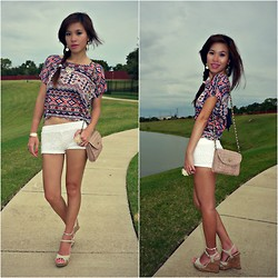 C. Le - Material Girl Shirt, Forever 21 Shorts, Jessica Simpson Shoes, Forever 21 Purse - Ordinary Girl