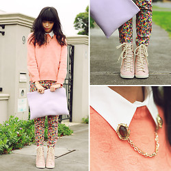 Connie Cao - Vintage Jumper, Vintage Sweater Clip, Topshop Trousers, See By Chloé Sneaker Wedges - I see pastel