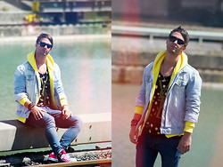"Lucas Lishke - American Apparel Yellow Hoodie, Yves Saint Laurent ""Ysl"" Tank, Bershka Denim Jacket, H&M Oversized Sunnies - YSL-Life is a present"