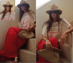 Amina Allam - Suiteblanco Panama Hat, Zara Poncho, Stradivarius Maxi Dress, French Connection Uk Bag, Dolce & Gabbana Sunnies, Michael Kors Sandals - Ready for the beach