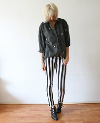 Sietske L - Minusey Skull Shirt/Jacket, Armani Exchange Striped Jeans, Sacha Boots - Stripes and skulls