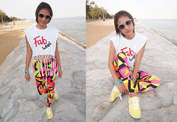 Rachel Eng - Fab Shirt, Black Milk Clothing Cubism Leggings - Fashion Against Bullying