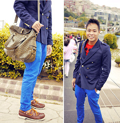 Dennis Robles - A.P.C. Brown Boat Shoes W Crooked Soles, Zara Royal Blue Trousers, Yves Saint Laurent Rive Gauche Ostrich Bag, Chapter 7 Navy Blazer, Gianfranco Ferre Red Shirt - Istanbul look #370