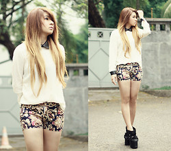 Anastasia Siantar - Impromptu Leather Peterpan Blouse, Printed Shorts, From Karl <3 Hydra Boots - I'll wait