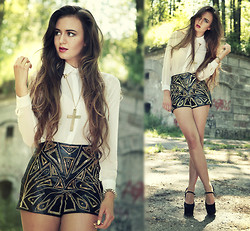 Klaudia Klara - Sheinside Shirt, Handmade Shorts, Romwe Bracelet, Deezee Shoes - You came and you changed my world