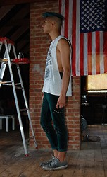 Jackson Teague - Topman Lips Chain, Converse Navy - Matching Pants and Hair