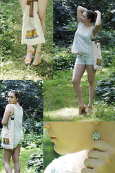 Marina Baranova - Sugarlips Sky Veranda Top, Dream Out Loud Shorts, Venice, Italy Earrings, Hand Made Bag - Blues and yellows