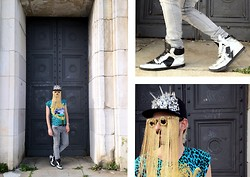 Dimitrios Pispilis - Swear London Studded Pointed Deans In Silver, Made It On My Own Studded, Crystalised Cap, Made It On My Own Customised Golden Chain Sunglasses, Cheap Monday Skinny Jeans, H&M Versace For Tshirt - More is more
