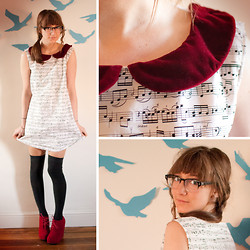 Ama Reid - Laura Jean Vintage Harmony Mini Shift Collared Dress, Asos Knee High Socks, Velvet Wedge Boots, Derek Cardigan Seeing Glasses - And the songbirds keep singing like they know the score