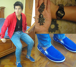 Sef Tiburcio - Sanuk Boat Shoes, Rado Black And Brown Watch, Black Market Robot Necklace, Wranco Skinny Jeans, River Island Buttoned Jacket, Sm Accessories Blue Belt - Echolalia