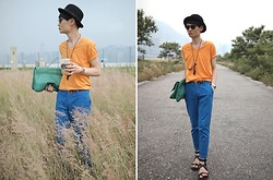 Edward Poon - H&M Bowler Hat, Uniqlo Orange V Neck Shirt, Zara Pants, Induhomme Gladiator Sandals - Billion dollar baby