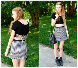 Megan Brigance - Diy Crop Top, Diy Skirt, Thrifted Bag, Urban Outfitters Combat Boots - DIY crop top/skirt