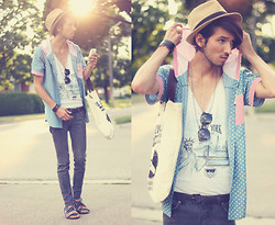 Bobby Raffin - Hooded Button Up, Forever 21 California Tote Bag, Diy New York Tank Top - Sunset Sunday