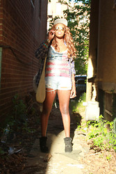 Sunnie Bridges - Bdg Wedge Boots, Vintage Metal Flag, High Waist Distressed Denim - Red white and blue for breakfast