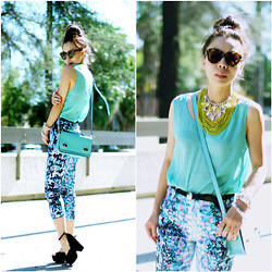 Hallie S. - American Apparel Tank, Asos Floral Pants, Céline Wedges - Trendy Elements