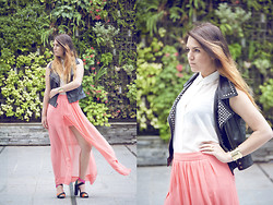 Ella Vázquez - Vero Moda Studded Jacket, Stradivarius Claudine Top, Zara Long Skirt, Zara Colored Sandals, H&M Cuff With Studds, Ombre Hair - You know I need you to make it real