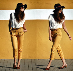 Laura Views - Primark Pants, Forever 21 Hat, Forever 21 Blouse, Vintage Shoes - Yellow mustard