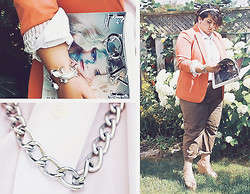 Sara Ann - Shopthelook. Double Headed Lizard Bracelet, Chain Necklace, Shop Tainted Kiss Risky Business Blazer In Coral, Forever 21 Chunky Sling Back Wedges - Believer