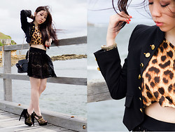 V for Visala . - Motel Rocks Leopard Print Cropped Top, Forever 21 Lace Skirt, Custom Made Padded Shoulder Jacket, Jeffrey Campbell Pony Tail, Asos Claw Clamp - TrueSelf