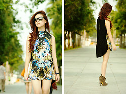 Silvia Siantar - Mango Blouson, Dolce & Gabbana Matt Silk Edition, Givenchy Booties - Mirrored tropical print