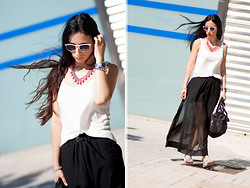 WOWS . - Gant Watch, Ray Ban Sunglasses, Bershka Tshirt, Massimo Dutti Sandals, Leontina Alascio Chain Braceler, Zara Necklace, Mango Bag - MAXI SKIRT + FLUOR / International GIVEAWAY