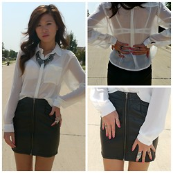 C. Le - H&M Skirt, H&M Blouse, Charlotte Russe Necklace - Leather and Sheer