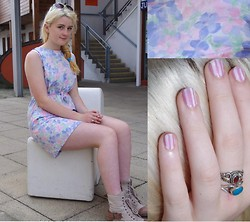 Martha Blue Mitchell-Gillespie - Vintage Customised Floral Dress, Tk Max Canvas Boots - Pastel florals