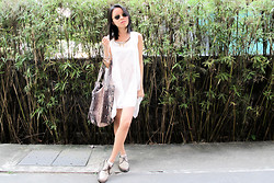 Desiree Liew - White Dress, Mango Snake Skin Bag - White wash