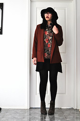 Suri May - Thrifted Blazer, Thrifted Dress, Thrifted Floral Shirt, Tony Bianco Lace Up Boots, Sportsgirl Hat - Dark Floral