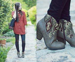 Breanne S. - Flattery Heart Tights, Asian Icandy Tote Bag, Lulu*S Booties - Red Summer